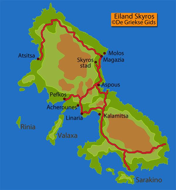 Landkaart - Kaart Skyros