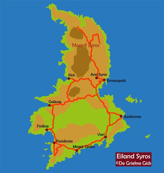 De kaart van Syros