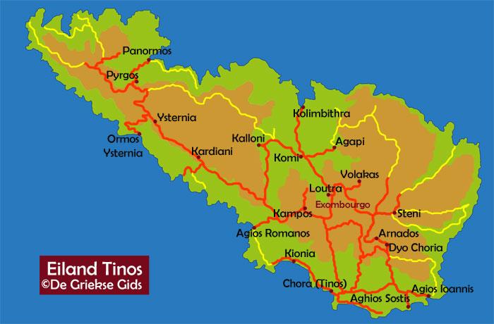 Kaart Tinos - Landkaart Tinos